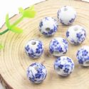 Beads, Porcelain, Blue , White , Round shape, Diameter 12mm, 1 bead [Sold Individually], [TCZ0036]